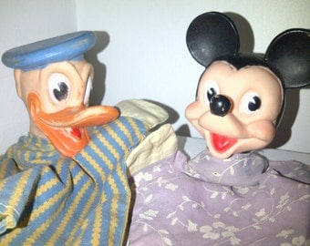 Vintage Mickey Mouse Donald Duck Hand Puppets