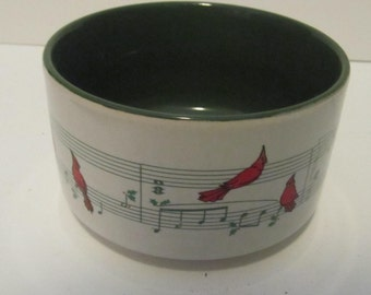 Ceramic Napco Bowl with red jay birds and  musical symbols