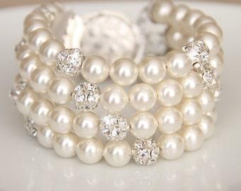 Bridal Pearl Bracelet, Wedding Bracelet, Bridal Bracelet Wedding Jewelry Pearl Bridal Jewelry Bracelet Bridal jewlery bracelet, pearls Garza