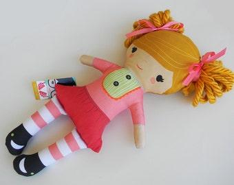 Organic Cotton Stuffed Handmade Girl Doll Izzy