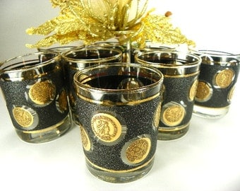 Raised Gold Coin Glasses On The Rocks Barware by Libbey