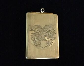 Antique gold filled Eagle Embossed locket  Signed FMCO