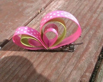 Butterfly ribbon Hair Clip Pink Green