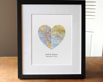 Gift for Couple, Heart Map, Wedding Gift, Anniversary Gift, Custom Wedding Gift, Anniversary Print