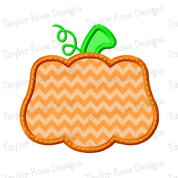 Pumpkin applique machine embroidery design