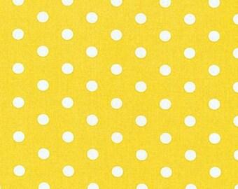 yellow and white polka dots pimatex basics cotton fabric by robert kaufman 1 yard or yardage destash sale closeout