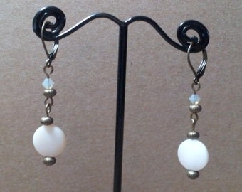 Mother Of Pearl Antique Brass Swarovski Crystal Earrings