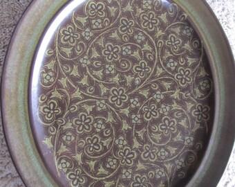 RARE Franciscan Madiera Stoneware Dark Green and Brown Platter