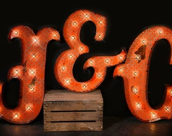 3 letter package marquee letter marquee light carnival letter wedding sign - Lighted Marquee Letters