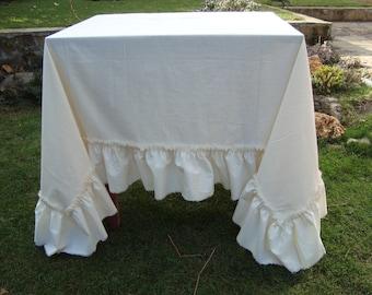 Cotton Ruffled Tablecloth Wedding Shabby Chic Tablecloth
