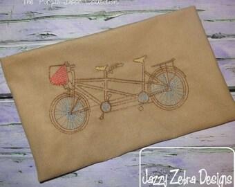 Tandem Bike Sketch Embroidery Design