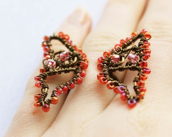 Butterfly Ring, Adjustable Ring, Butterfly Jewelry, Wire Wrapped Ring, Fantasy Jewelry