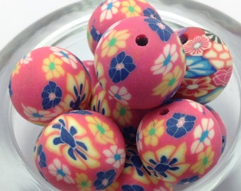 6 Pink Polymer Clay Beads, 15mm Beads (1-1259)