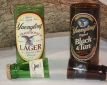 Beer Bottle Gift Set Upcycled from Yuengling® Beer Bottle, Yuengling® Beer Bottles Re-Purposed into Shot Glass and Drinking Glass