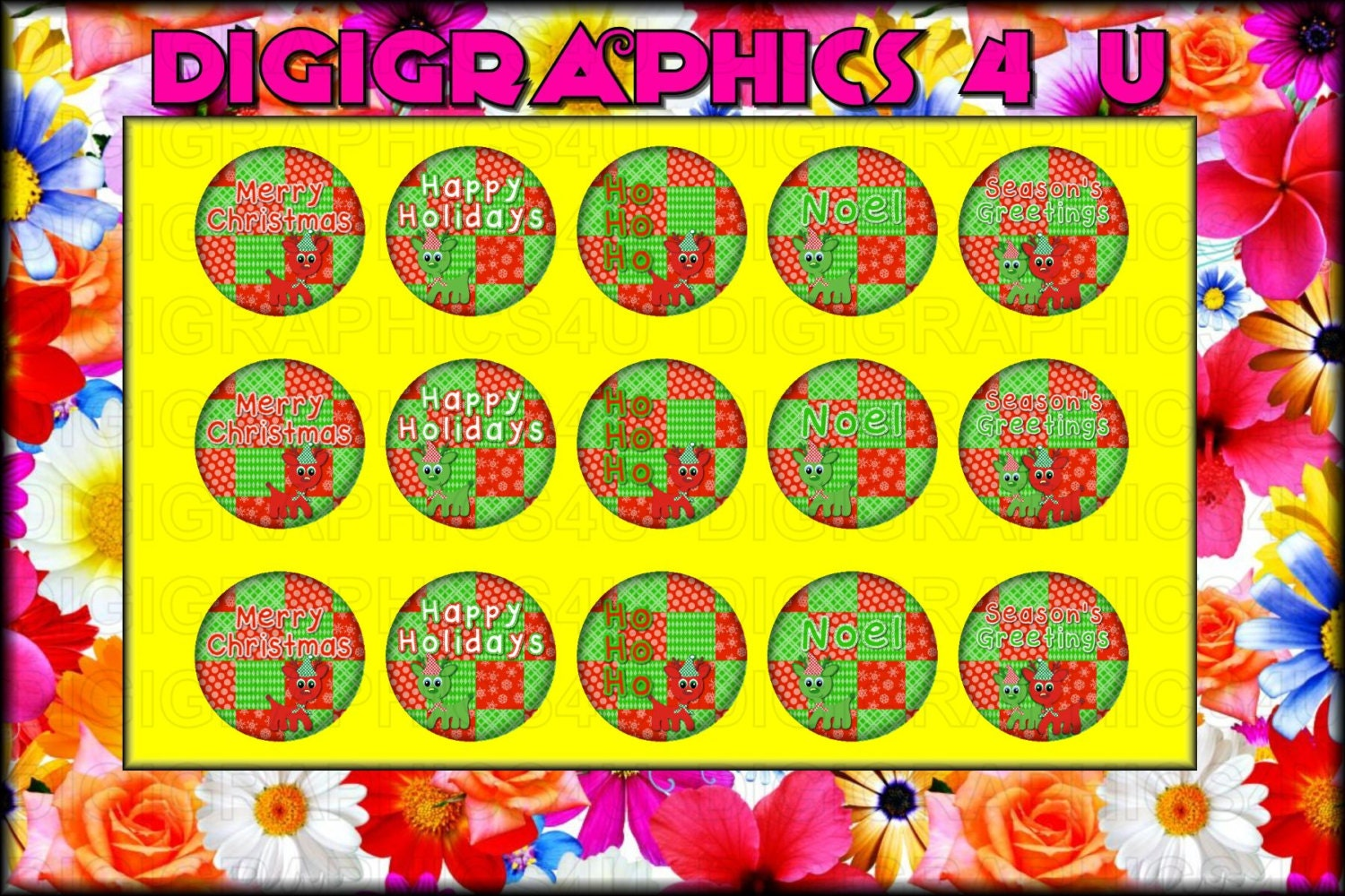 Christmas Sayings Holiday 1 Inch Bottle Cap Images For