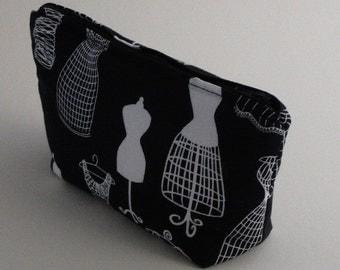 Large Cosmetic Bag, Black & White, Vintage Inspired Dress Form