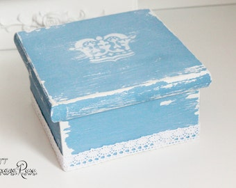 Shabby chic memory box - Crown shabby box - jewelry box - jewelry storage