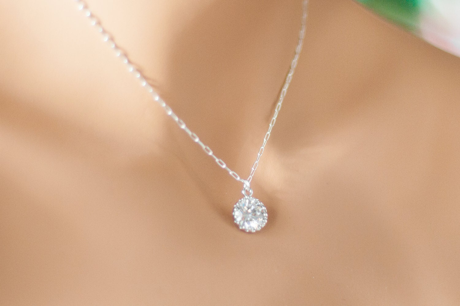 Single diamond necklace one stone necklace by elegantavenues single diamond necklace one stone necklace by elegantavenues image gallery mozeypictures Image collections