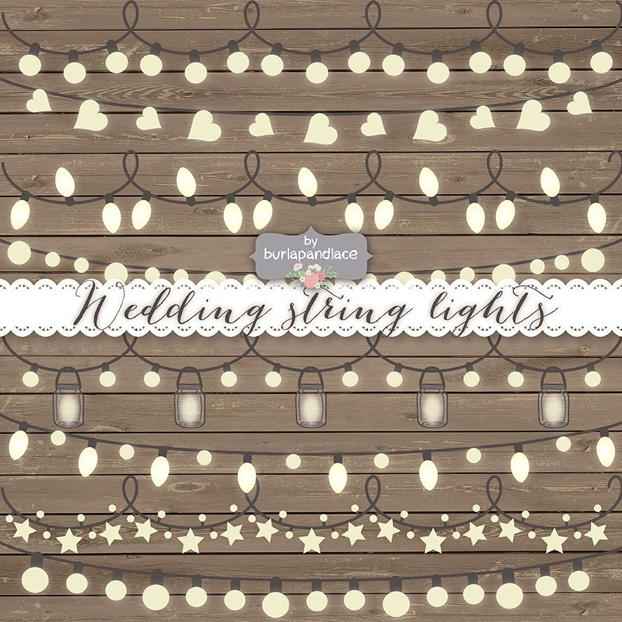 String Lights Border : VECTOR Rustic String Lights Clipart wedding invitation
