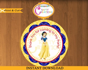 "INSTANT DOWNLOAD - Snow White Favor Tag Label - Disney Princess Birthday Party Favor Tags- 2.25"" Printable Treat Bag Label Sticker Circle"