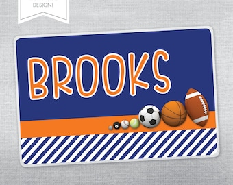Personalized placemat for kids. Sports placemat.
