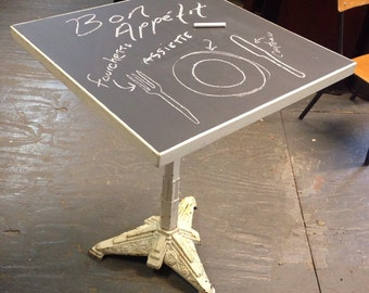 Vintage french bistro table with chalkboard top