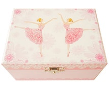 """Lily & Ally / Flower Ballerina Musical Jewelry Box, Melody of """"Waltz of the flowers"""" with Satin Ribbon Ponytail Holders Ballerina Music Box"""