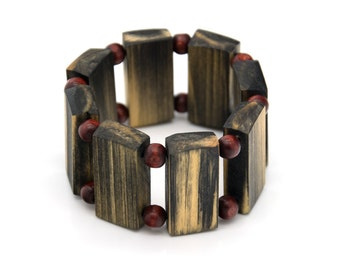 "Wooden bracelet. Reclaimed wood. Recycled. Jewelry. Eco friendly. Elastic bracelet. Stretch. Size: 6 1/2"" (16.5 cm)"