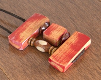 Recycled wooden pendant, Eco-Friendly, Red Pendant, Unique, Adjustable Length Necklace
