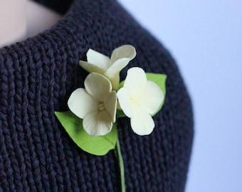 Soft Yellow Hydrangea Brooch, Hydrangea Boutonniere, Hydrangea Flower Buttonhole