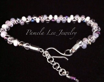 50% OFF  White and Purple Bead and Sterling Silver Bracelet