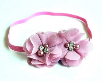 Mauve Hand Sewn Double Chiffon Flower Headband with Pearl and Rhinestone Center