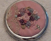 Silk Ribbon Embroidered Mirror Compact