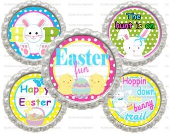 "Instant Download Printable Easter 1"" Circle Bottle Cap Images"
