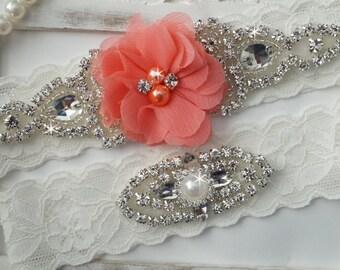 Wedding Garter Set, Bridal Garter Set, Vintage Wedding, Lace Garter, Coral Bridal Garter, Coral Wedding - Style 150