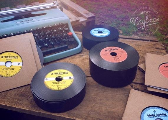 Vintage Vinyl Record CD's. Unique Wedding Invites & favors. Combo pack.
