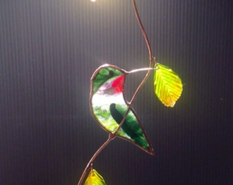 Turned Hummingbird with FALL Leaves stained glass suncatcher