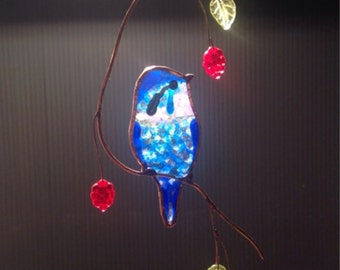 Australian Fairy Wren stained glass suncatcher