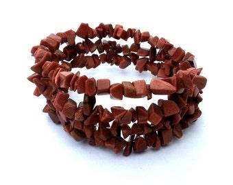 Goldstone Memory Wire Wrap Bracelet; Gold Bracelet; Brown Gemstone Chip Bracelet; Orange Stone Chip Bracelet