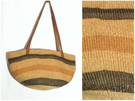 Vintage Straw Purse Tote Bag Jute Brown Leather Handle