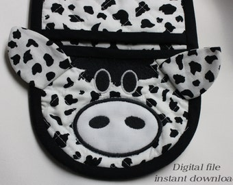 Cow oven mitt pot holder in the hoop applique design digital pattern for embroidery machines, new tail has been added to download