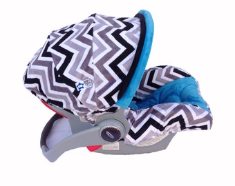Infant Car Seat Cover- Black/ Silver Snow Chevron/ Turquoise