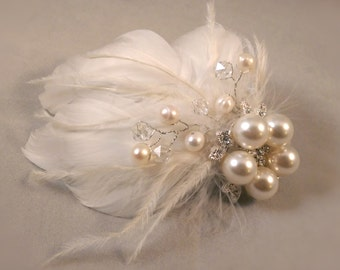 Ivory Feather Fascinator  - With Goose Feathers, Swarovski Crystals, Fresh Water Pearls, And Brooch - Wedding Feather Fascinator