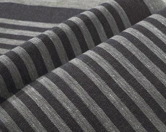 Black Narrow strips Canvas pure Linen fabric Upholstery Decorator French Ecru light Gray Heavy Weight ECO-friendly - custom yardage