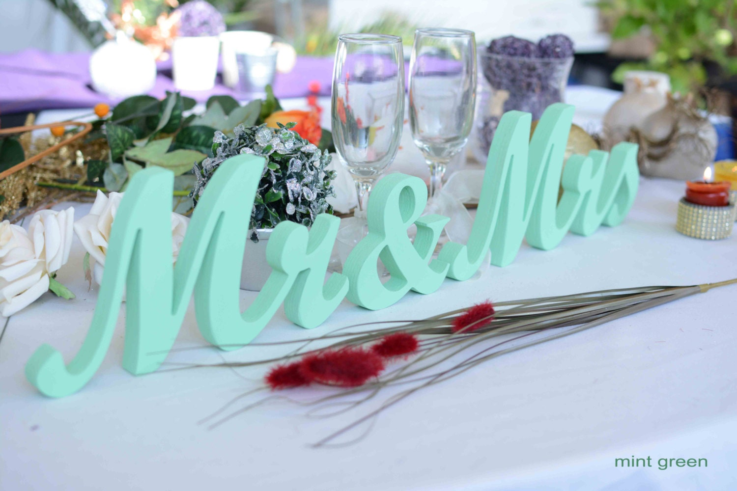 Mr And Mrs Wedding Letters Mint Green Sign Wedding