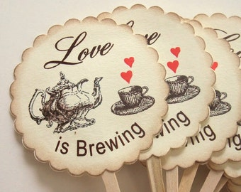 Love is Brewing Cupcake Toppers, Teapot and Teacup, Cupcake Picks, Set of 12