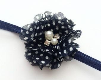 Navy Blue Coming Home Headband - Hospital Headband for Newborn - Going Home Headband for Baby Girl - Chiffon Flower Head Band Photo Prop