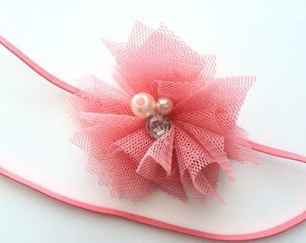 Coral Headband for Infant - Newborn Headband for Easter - Tulle Flower Headband - Baby Girl Head Band - Coral Pink Skinny Elastic Headband