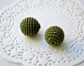Crochet beads 15 mm - 10 pcs - wood round beads, dark green, handmade, ash wood, forest green