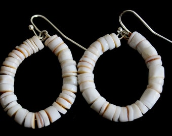 pooka shell hoop earrings